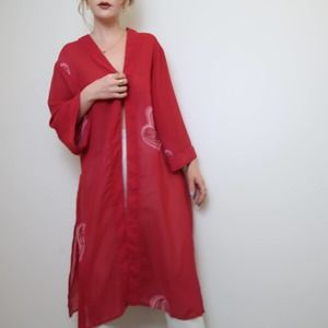 A Wild Thyme red sheer layering kimono cardigan